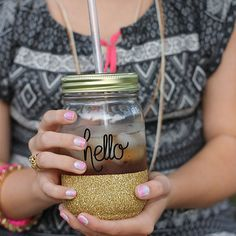 Personalized Gold Glitter Mason Jar Tumbler - Glitter Tumbler - Mason Jar - Glitter Dipped Cup - Bridal Party Gift Ideas - Travel Mug
