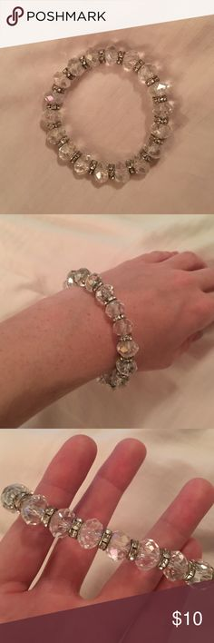 SALE Crystal and glass beaded bracelet Only worn once, all crystals intact. Looks great with literally every color! Has a stretchy band to fit over hands. It is from a boutique. Jewelry Bracelets