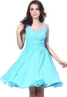 Blue A-Line Chiffon Prom Dresses