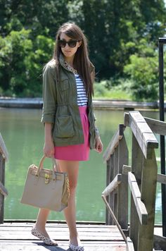 Military jacket and pink skirt