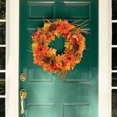 "22 inch Fall Door Wreath with 12"" Wreath Hanger, Autumn Maple Leaf Pumpkin Harvest Wreath for Thanksgiving Day Halloween Decorations Front Door..."
