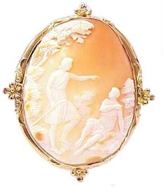 Huge Antique Solid Rose Yellow Gold Carved Shell Cameo | eBay