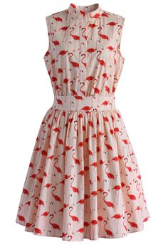 Flamingo Fun Flare Print Dress - Retro, Indie and Unique Fashion