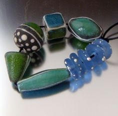 A set of enameled beads.