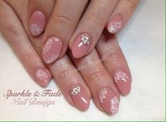 Amore Ultima Gel - Concealer gel, swarovski crystals and hand painted lace - Done by Christine Ingalls of Sparkle and Fade Nail Design  https://www.facebook.com/SparkleAndFadeNailDesign