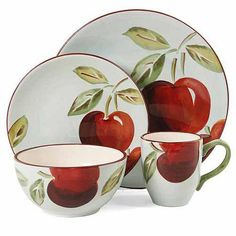 Gibson Home Fruitful Harvest Apples 16-Piece Dinnerware Set, White