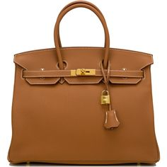 Pre-Owned Hermes Gold Togo Birkin 35cm Gold Hardware ($21,100) ❤ liked on Polyvore featuring bags, handbags, gold, hermes purse, colorful purses, locking purse, pre owned handbag and handbag purse
