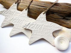 Bisque Star White Pottery Decoration, Handmade Ceramic Christmas Ornament, Names for Christ, Jesus, Messiah, Redeemer, Unglazed Bisque Beach via Etsy
