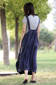Linen Pinafore Dress Blue Long Suspender Dress and by YL1dress