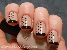 nude + black polka dots.
