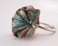 Ring |  Cynthia Del Giudice.  Foldforming copper sheet and silver