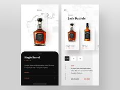 Jack Product Details designed by Faria Anzum. Connect with them on Dribbble; Ui Design Mobile, App Ui Design, Banners, Jack Daniels Single Barrel, Ui Design Inspiration, Ui Web, Landing Page Design, Applications, Whiskey
