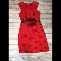 "Graphic Dot Dress By J. Crew Factory - beautiful red dress with black detail throughout - fully lined - hidden back zipper closure - 35"" shoulder to hem - waist 14"" across- 100% polyester - excellent condition, only worn once NO TRADES/NO MODELING J. Crew Dresses"