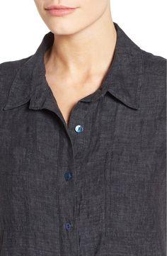 Main Image - Eileen Fisher Chambray Linen Tunic (Regular & Petite)