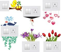 Decals Creativity® Switch Board Sticker Light Switches Sticker Combo Set of 7 Simple Wall Paintings, Home Wall Painting, Creative Wall Painting, Creative Wall Decor, Diy Painting, Bedroom Wall Designs, Wall Art Designs, Tree Wall Decor, Diy Wall Decor
