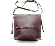 Oxblood Raw Edge leather cross body bag  Rustic leather bag by LokaStudio
