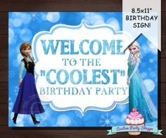 FROZEN BIRTHDAY PARTY Welcome Sign, Decorations, Diy, Printable, Custom Party Shoppe on Etsy, $3.00