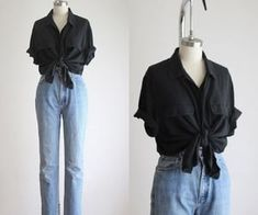 Cool Outfits, Casual Outfits, Fashion Outfits, Gothic Fashion, Black Silk Blouse, Vintage Outfits, Vintage Fashion, Looks Cool, Mode Inspiration