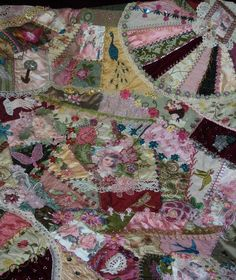 I ❤ crazy quilting . . . Crazy Quilt, pinks and green. I am so excited to finally get to see more of this glorious crazy quilt. The first picture I saw was just a teaser. Thank you! Awesome quilt ~by Pat Winter