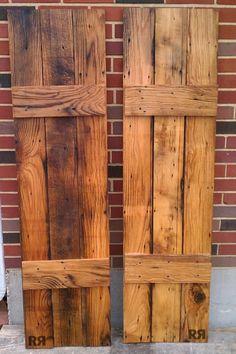 Making Cedar Shutters - Bing images More Cedar Shutters, Window Shutters, Wooden Shutters Exterior, Pallet Shutters, Farmhouse Shutters, Rustic Shutters, Country Shutters, Home Renovation, Home Remodeling