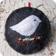 Modern Snowbird on Charcoal - Felt Christmas Ornament