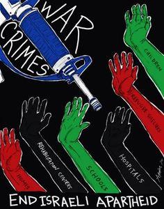 War crimes, end israeli apartheid, une affiche d'Alma Sheppard-Matsuo, réalisée en juillet 2014