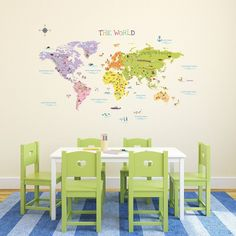 Decowall Big World Map Wall Decals Removable Vinyl PVC DIY stickers 1306 KidsArt #DecowallDM1306KidsDecals #ModernEducational