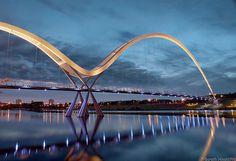 Public pedestrian and cycle footbridge across the River Tees, Stockton-on-Tees, England.