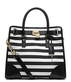 MICHAEL Michael Kors Hamilton Striped Canvas Large North/South Tote | Dillard's Mobile