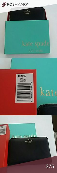 "Kate Spade Black Mikas Pond Lacey Wallet Condition :  Like New  Size:   8"" x 4"" Color :  Black  Material :  Leather  Details :  Zipper closure, zippered coin section,  12 credit card slots kate spade Bags Wallets"