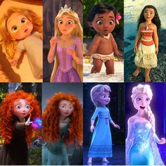 "(@disneyneverlandpixiedust) on Instagram: ""Rapunzel  Moana Merida  Elsa ❄ Which one of these strong and beautiful woman you love the most?…"""