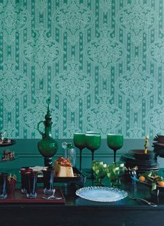christmas green blue table setting