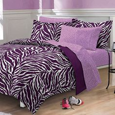 Purple zebra bedding twin xl full queen teen girl bed in a bag dorm comforter set designs bedroom retro style decoration black printed Teen Girl Bedding, Twin Xl Bedding, Dorm Bedding, Comforter Sets, Girls Bedroom, Bedroom Decor, Bedroom Ideas, Black Bedding, Bedroom Designs