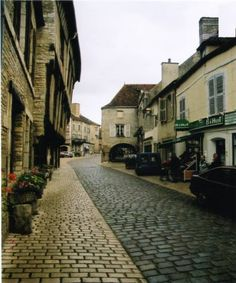 French street with cobblestone