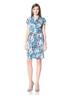 63% OFF Suzi Chin Women\'s Cap Sleeve Faux Wrap (Blue)