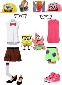 """SpongeBob & Patrick"" by supermariogirls ❤ liked on Polyvore"