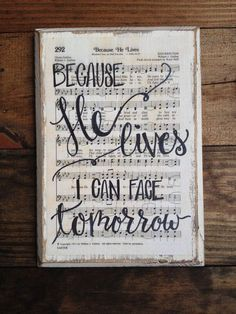Living room Piano wall:Because He Lives Hymn Board hand lettered wood by ImperfectDust