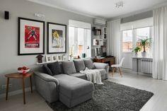 deco salon gris avec quelques touches de blanc et de couleurs plus vives, amenagement salon personnalisé