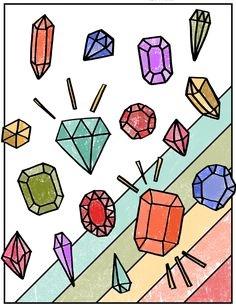 Free Coloring Pages for Grownups - Download this free printable, hand-drawn coloring page for adults or kids! This one features a geometric design with pretty diamonds and gemstones and stripes.