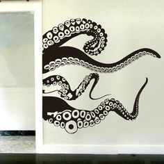 Octopus Wall Decal Squid Wall Decal Each our Squid Wall Decal is made of high quality, self-adhesive and waterproof vinyl. Our vinyl is rated to last 5 years outdoors and virtually forever indoors. Decals can be applied to any clean, sm Octopus Bathroom, Bathroom Mural, Octopus Wall Art, Octopus Kitchen, Octopus Squid, Style Deco, Kraken, Tentacle, Interior And Exterior