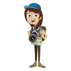Woman photographer cartoon png