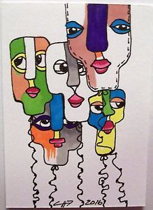 ACEO Original Abstract Balloons Fun Happy Whimical Faces | eBay
