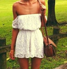 Bright white lace off shoulder