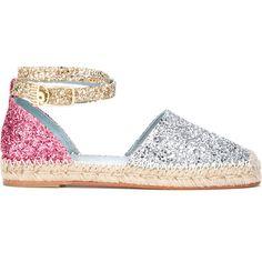 Chiara Ferragni Metallic Sequin Espadrilles (15,610 DOP) ❤ liked on Polyvore featuring shoes, sandals, metallic espadrilles, ankle tie sandals, ankle strap espadrilles, embroidered sandals and leather espadrille sandals