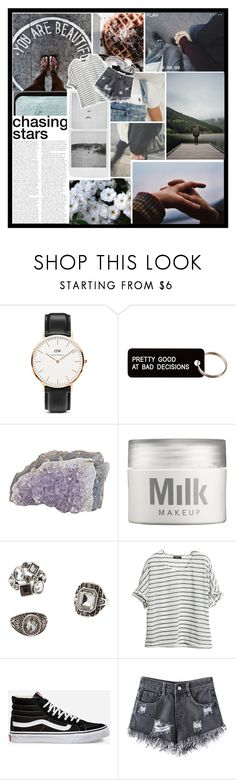 """★ 4EVER ★"" by corruptedcolours ❤ liked on Polyvore featuring Reverie, Daniel Wellington, Various Projects, MILK MAKEUP, Charlotte Russe and Vans"