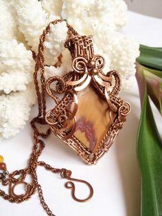 Unique jasper pendant wrapped in wire copper