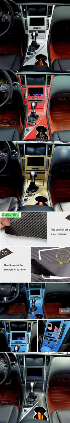 Savanini Car Styling New Interior Center Console Color Change Carbon Fiber Molding Sticker Decals