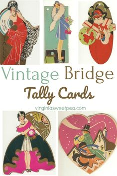 Vintage Bridge Tally Cards - See a collection of bridge tally cards used post WWI through the that feature Art Deco designs including beautiful ladies and florals. Vintage Love, Vintage Images, Vintage Decor, Vintage Items, Art Deco Cards, Vintage Clutch, Affordable Home Decor, Printable Art, Printables