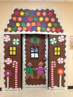 Classroom Decorating Ideas: Giant Gingerbread house for before Winter break for the door