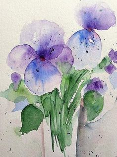 Pansy Art Print by Britta Zehm - Skizzieren Watercolor Cards, Abstract Watercolor, Watercolour Painting, Watercolor Flowers, Watercolors, Watercolor Techniques, Art Plastique, Pansies, All Art